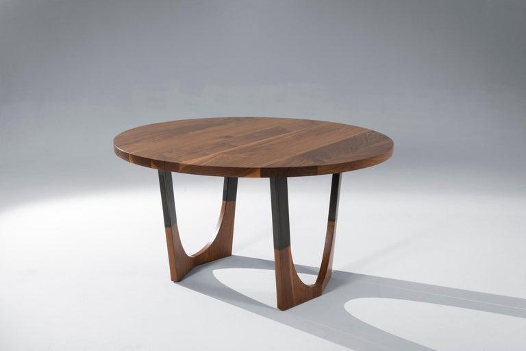 American Circular Walnut Expanding Dining Table