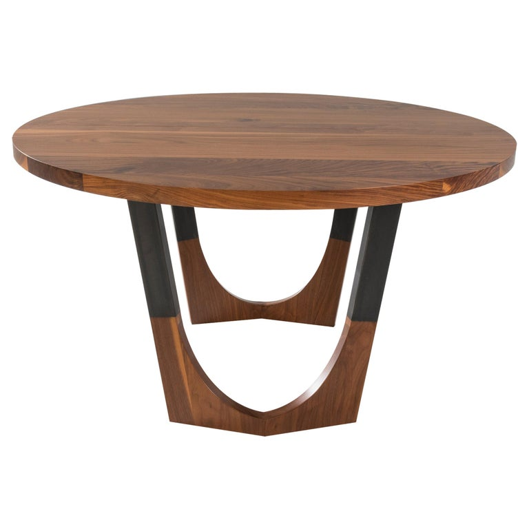"""Circular Walnut Expanding Dining Table """"Concord Dining Table"""" For Sale"""