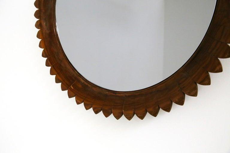 Circular Walnut Wall Mirror by Fratelli Marelli, Italy, 1950s For Sale 2