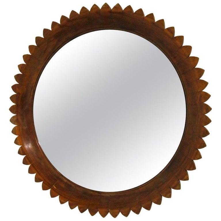 Circular Walnut Wall Mirror by Fratelli Marelli, Italy, 1950s For Sale