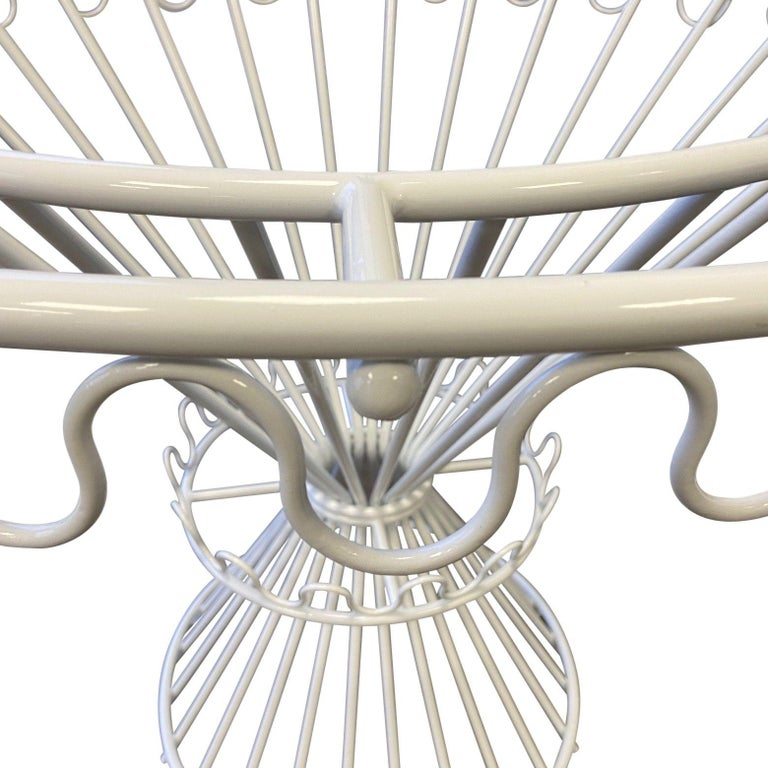 Circular White Metal Dining Table Base, 1950s, by Mathieu Matégot In Good Condition In London, GB