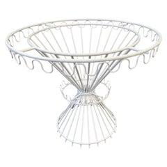 Circular White Metal Dining Table Base, 1950s, by Mathieu Matégot