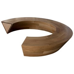 Circular White Oak Round and Round Bench with Hidden Drawer