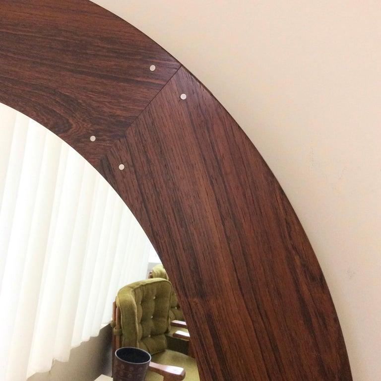 Scandinavian Modern Circular Wood Mirror by Luxus, circa 1960 For Sale