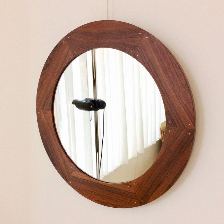 Swedish Circular Wood Mirror by Luxus, circa 1960 For Sale