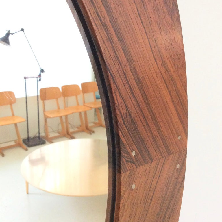 Circular Wood Mirror by Luxus, circa 1960 In Good Condition For Sale In Brussels, BE