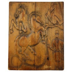 """""""Circus"""" Hand Carved Wooden Relief by Artist Feldman, 1970s"""