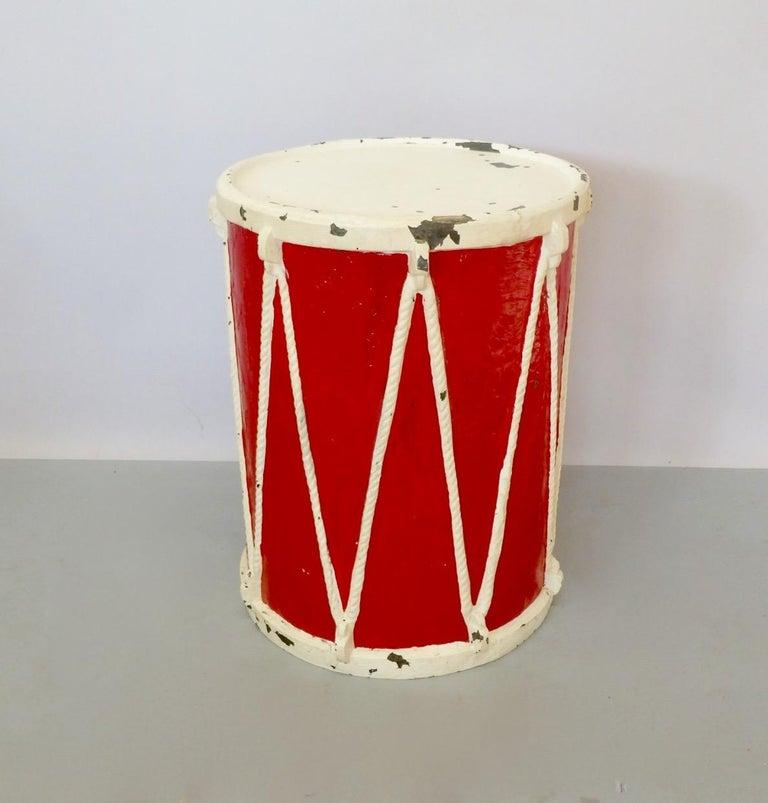 American Circus or Display Fiberglass Drum Pedestal Plant Stand  For Sale