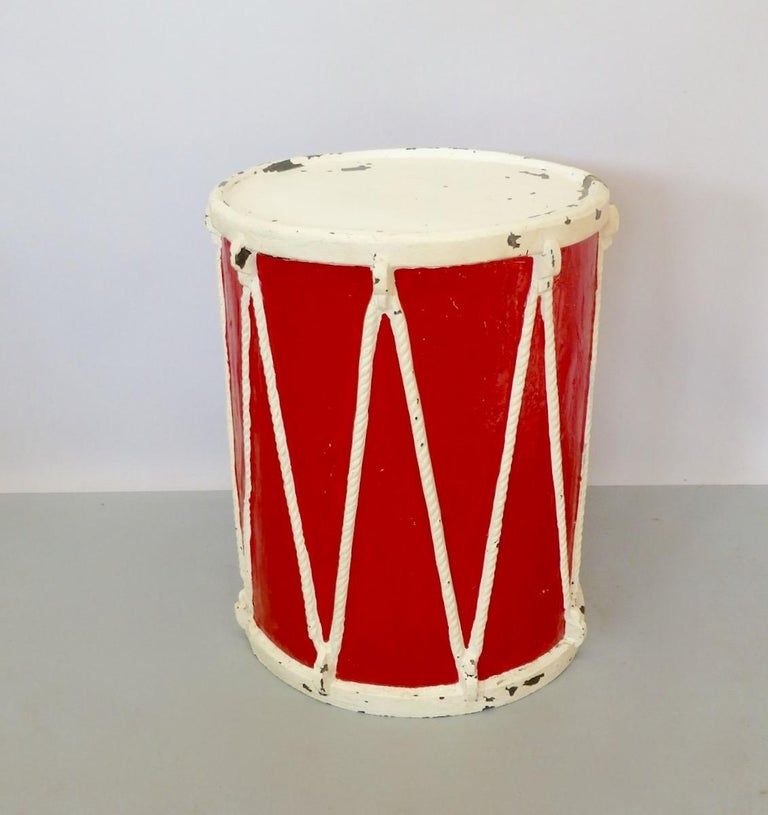 Circus or Display Fiberglass Drum Pedestal Plant Stand  In Fair Condition For Sale In Ferndale, MI
