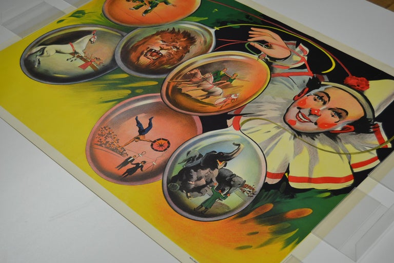 Circus Poster Clown 'Pierrot' Circus Scenes Printed by Willsons Leicester For Sale 4