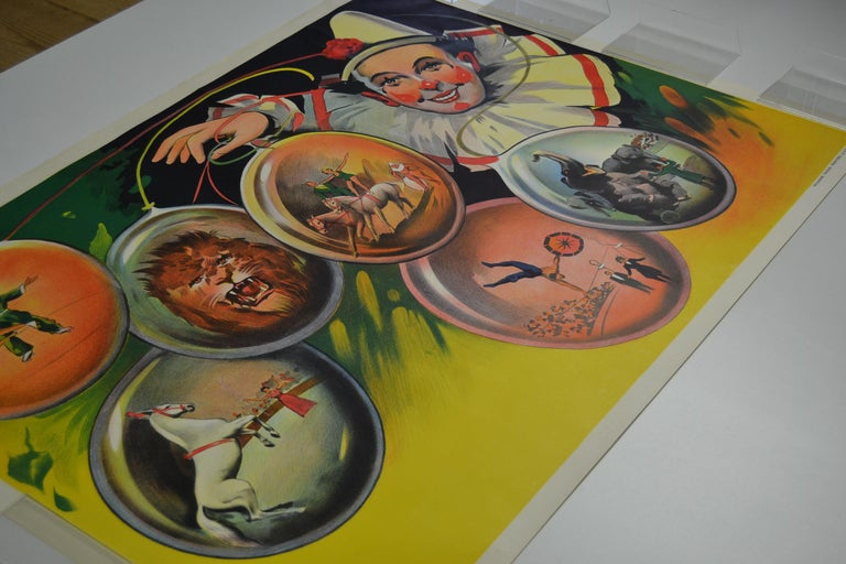 Circus Poster Clown 'Pierrot' Circus Scenes Printed by Willsons Leicester For Sale 5
