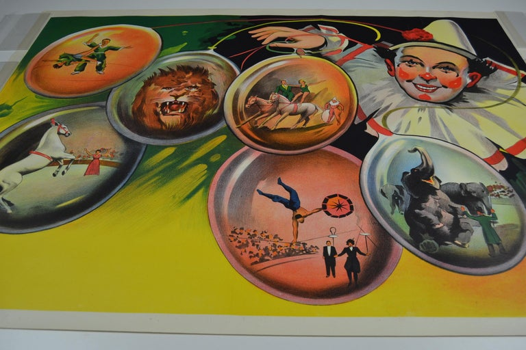 Circus Poster Clown 'Pierrot' Circus Scenes Printed by Willsons Leicester For Sale 12