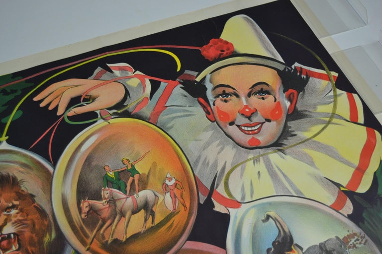 Awesome authentic Art Deco lithographic circus poster - Circus affiche printed by Willsons Show Printers Leicester (England - UK).  Presenting a clown - Pierrot with lots of circus scenes - Circus acts: Stunts with and on horses, vaulting, elephant