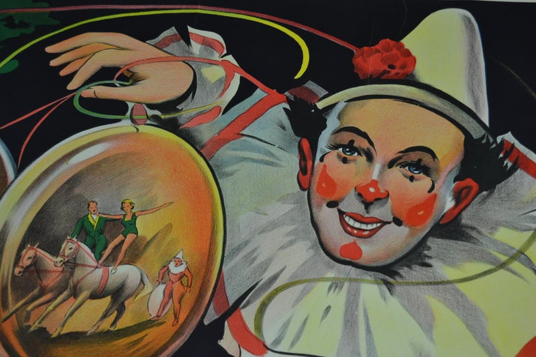 Art Deco Circus Poster Clown 'Pierrot' Circus Scenes Printed by Willsons Leicester For Sale