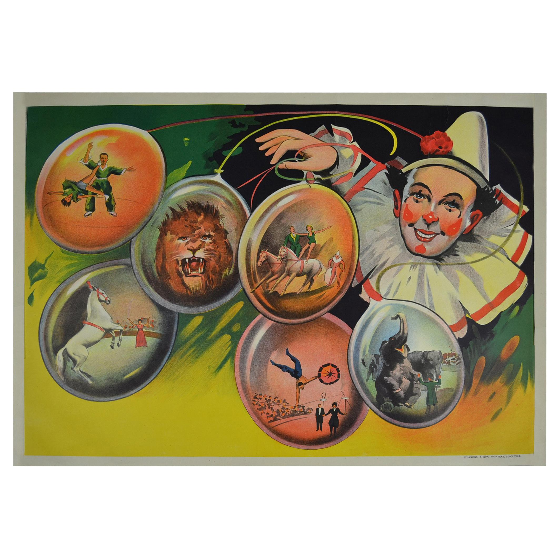 Litho Circus Poster with Clown and Circus Scenes Printed by Willsons Leicester