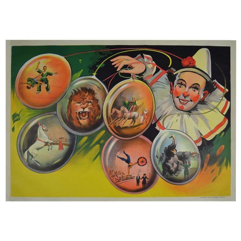 Circus Poster Clown 'Pierrot' Circus Scenes Printed by Willsons Leicester For Sale