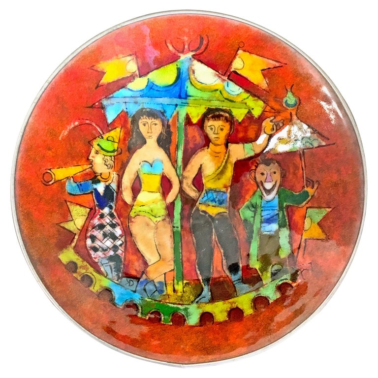 """Circus Scene,"" Masterpiece Enamel Bowl w/ Trapeze Artists in Deep Red and Green For Sale"