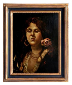 PORTRAIT OF YOUNG WOMAN - Neapolitan School - Italian Oil On Canvas Painting