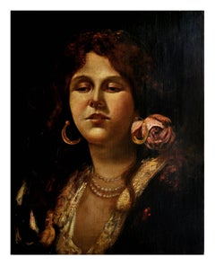 PORTRAIT OF YOUNG WOMAN - Italian Oil On Canvas Painting