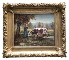 COUNTRY SCENE - Italian figurative oil on canvas painting, Ciro De Rosa