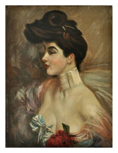LADY'S PORTRAIT - Ciro De Rosa Italian Oil on Canvas Painting