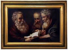 PHILOSOPHERS - Italian figurative oil on canvas painting, Ciro de Rosa