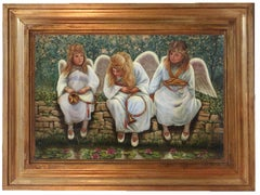 ANGELS ON THE WALL - Figurative Italian Oil on Canvas Painting.