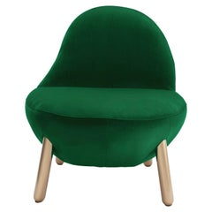 Cirrus Lounge Chair with Plush Green Velvet by Dario Contessotto