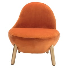 Cirrus Lounge Chair with Plush Orange Brown Velvet by Dario Contessotto