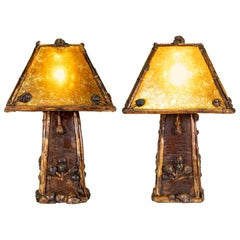 "Cisco's Burl Table Lamps with ""Mica"" Stick Shades"