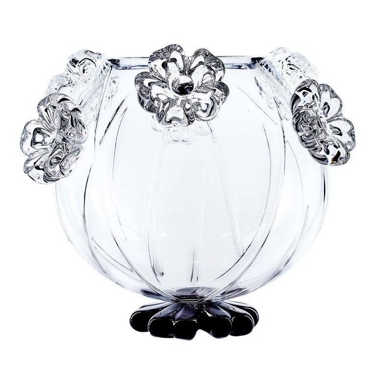 Italian Cistus Round Black Flower Vase by Mario Cioni For Sale