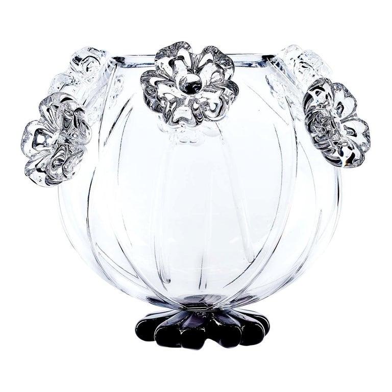Cistus Round Black Flower Vase by Mario Cioni For Sale