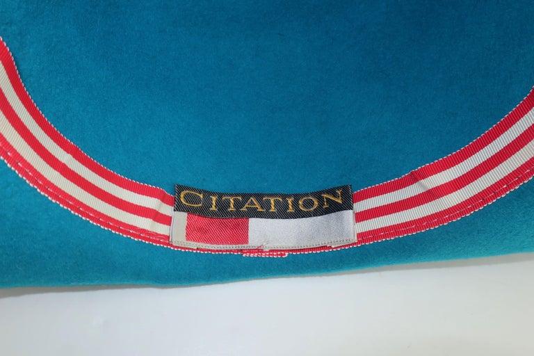 Citation Bicorne Bollman Hat With Rhinestone & Feathers, 1980's  For Sale 7