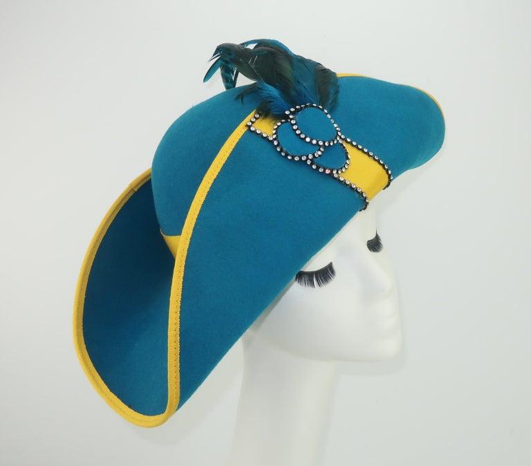 Blue Citation Bicorne Bollman Hat With Rhinestone & Feathers, 1980's  For Sale