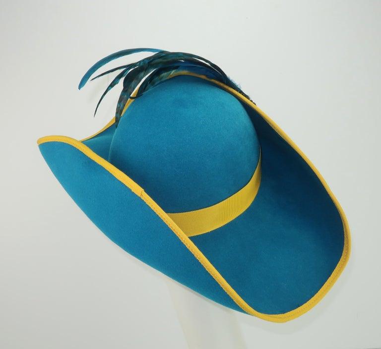 Citation Bicorne Bollman Hat With Rhinestone & Feathers, 1980's  In Good Condition For Sale In Atlanta, GA