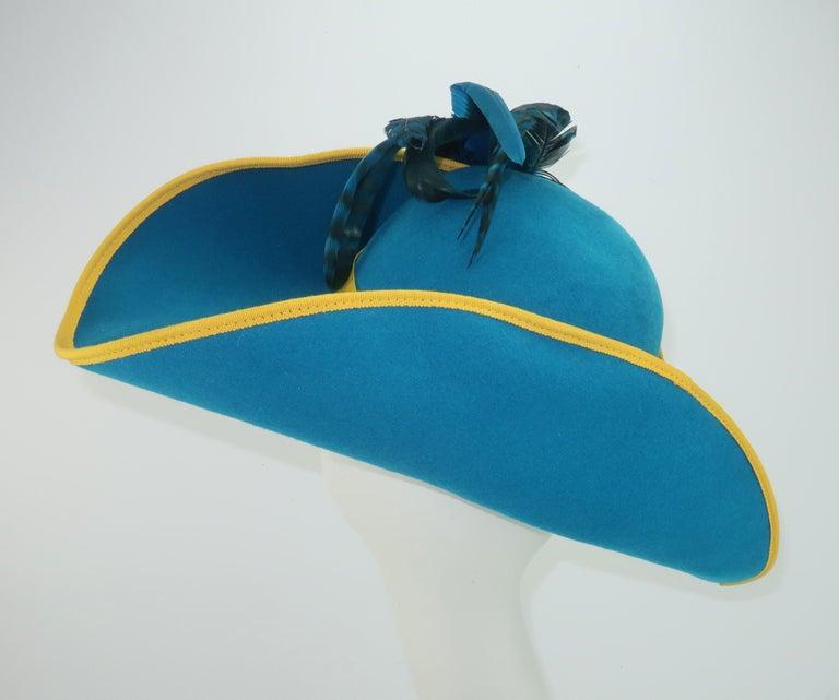 Women's Citation Bicorne Bollman Hat With Rhinestone & Feathers, 1980's  For Sale