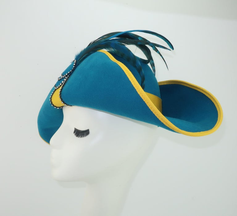 Citation Bicorne Bollman Hat With Rhinestone & Feathers, 1980's  For Sale 1