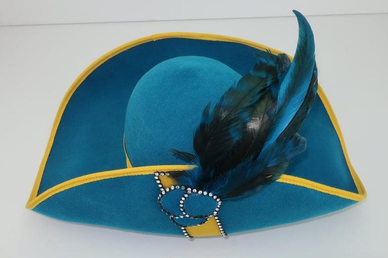 Citation Bicorne Bollman Hat With Rhinestone & Feathers, 1980's  For Sale 4