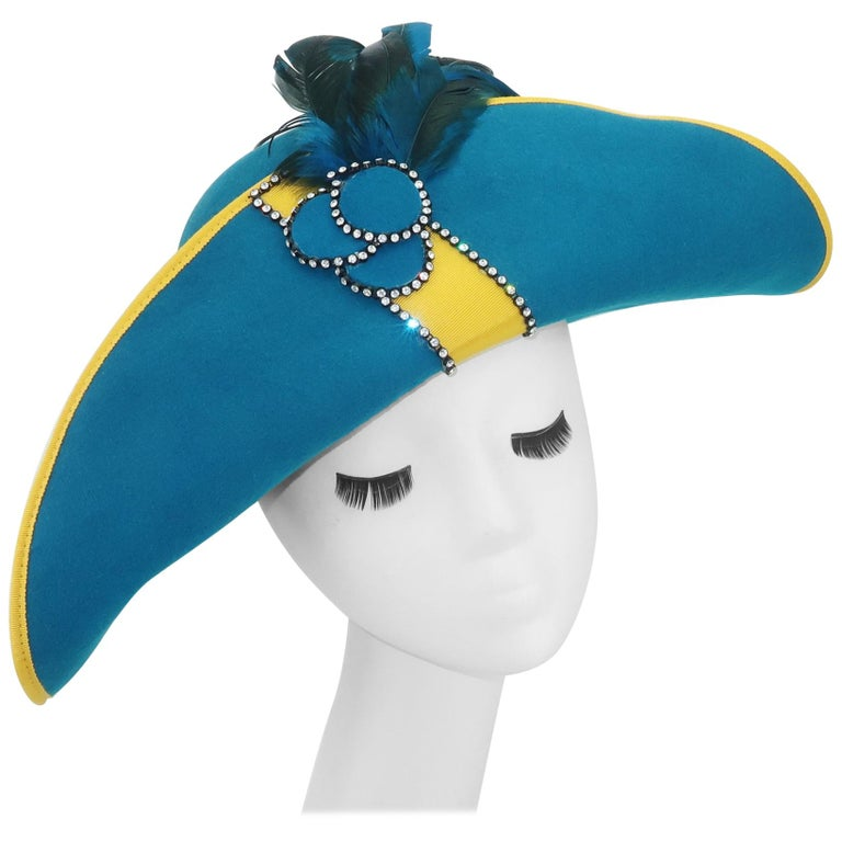 Citation Bicorne Bollman Hat With Rhinestone & Feathers, 1980's  For Sale