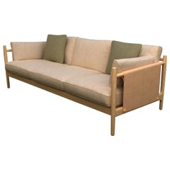 Citlal Three-Seat Sofa of Solid Wood, Fabric and Leather, Contemporary Design