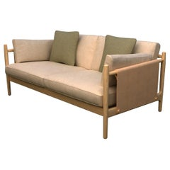 Citlal Two-Seat Sofa Solid Wood, Fabric and Leather, Contemporary Design