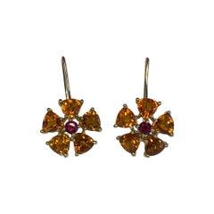 Citrene & Ruby Earrings
