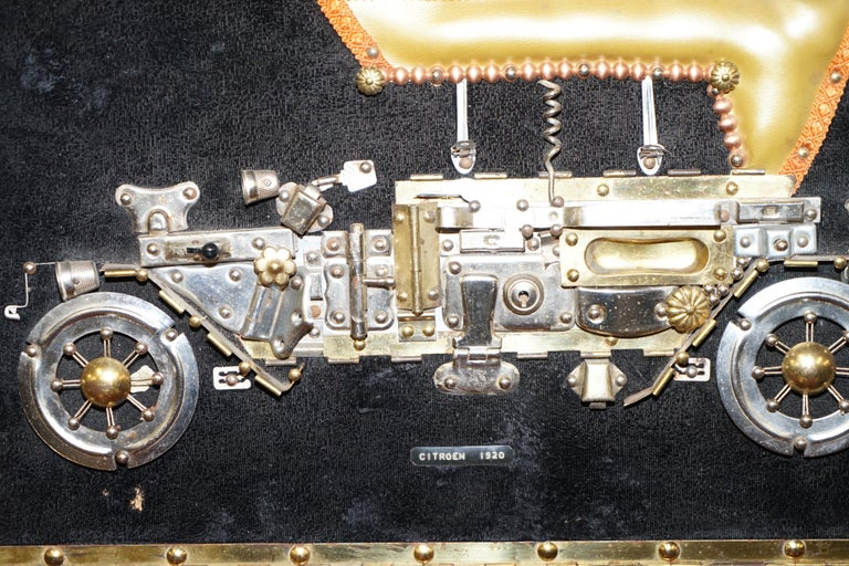 Modern Citreon 5HP 1920 Picture Art Work Made Up of Old Metal Utensils Scratch Built For Sale