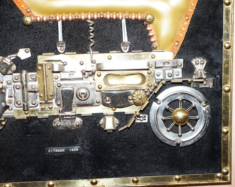 English Citreon 5HP 1920 Picture Art Work Made Up of Old Metal Utensils Scratch Built For Sale