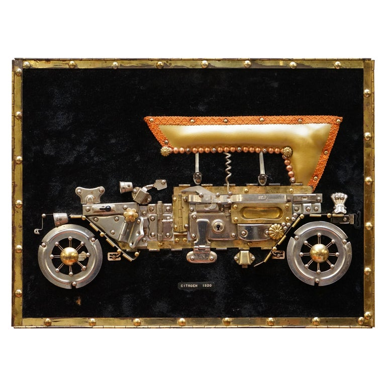 Citreon 5HP 1920 Picture Art Work Made Up of Old Metal Utensils Scratch Built For Sale