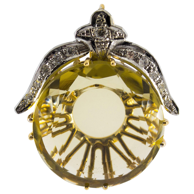 Citrine 0.25 Carat White Diamond Yellow and White Gold Pendant