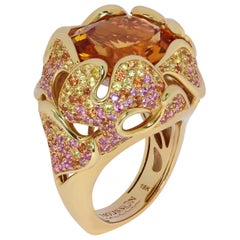 Citrine 12.34 Carat Pink Yellow Orange Sapphire 18 Karat Yellow Gold Ring