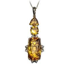 Citrine 12.68 Carat and Diamond Pendant