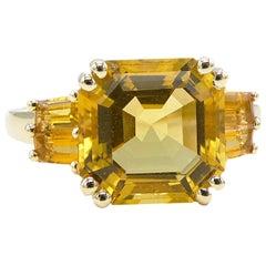 Citrine 14 Karat Yellow Gold Cocktail Ring