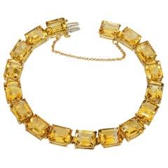 Citrine 14 Karat Yellow Gold Link Bracelet